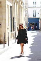 black bohemian Barefoot Contessa dress - black fringe Aritzia bag