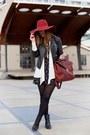 Gray-floral-print-club-monaco-dress-brick-red-floppy-hat-h-m-hat