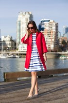 red 424 Fifth coat - blue 424 Fifth dress - silver Call it Spring heels