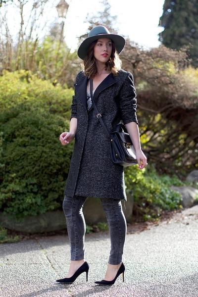 teal fedora brixton hat - charcoal gray menswear H&M coat