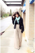 black Club Monaco blazer - aquamarine Club Monaco scarf - black BCBG bag