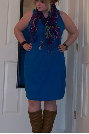 blue dress - brown boots - purple Old Navy scarf