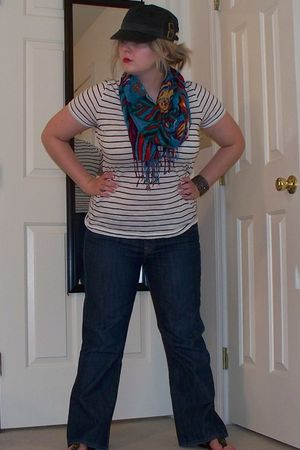 white Old Navy shirt - blue bitten jeans - blue Old Navy scarf - black shoes - b