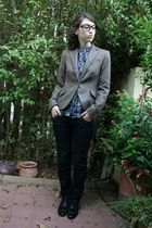 black glasses - black oxfords shoes - blue skinny cala jeans - brown Zara jacket