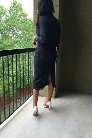 navy thrifted skirt - navy blouse - white Zara heels