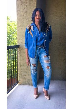 blue Target jeans - blue vest - blue thrifted vintage blouse - tan Zara heels