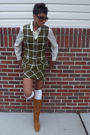 green thrifted vest - green thrifted skirt - beige Vintage DVF thrifted blouse -