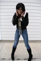 black St John for Neiman Marcus cardigan - black Nine West boots - beige thrift