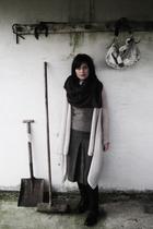 brown Aldo boots - brown H&M scarf - brown Kookai skirt - white Kookai cardigan