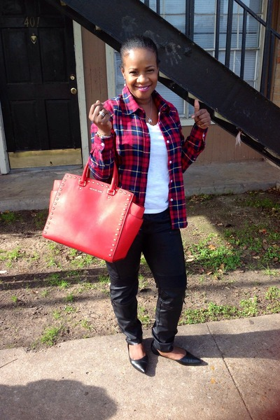 red plaid blouse Ebay blouse - black Ebay shoes - red Michael Kors purse