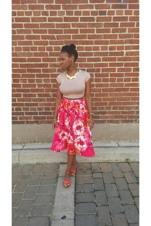 camel crop top windsor shirt - hot pink floral print Old Navy skirt