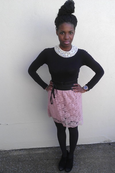 H&M necklace - Gadzocks shirt - thrifted vintage skirt