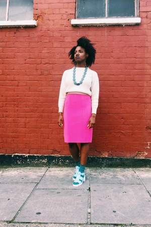 ivory thrifted vintage sweater - hot pink unknown brand skirt