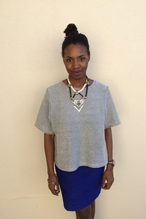 silver H&M shirt - blue Forever 21 skirt - black Topshop necklace