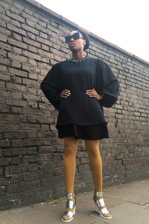 black unknown brand dress - black vintage shirt