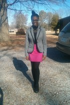 heather gray Target blazer - hot pink The Limited skirt