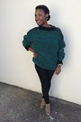 Camel-maurices-boots-black-forever-21-jeans-dark-green-thrifted-sweater