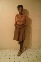 burnt orange Forever 21 skirt - tawny H&M shirt - camel Forever 21 wedges