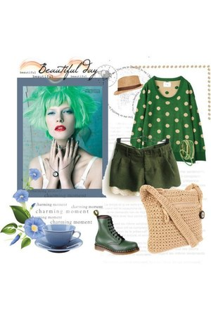 camel 2bstores hat - forest green Dr Martens boots - dark green dot knit sweater