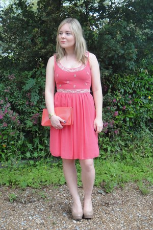 bubble gum Review dress - salmon Aldo bag - nude Aldo heels