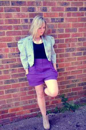 light blue denim jacket vintage jacket - tan asos boots - purple asos shorts