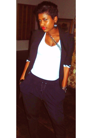 black Bebe blazer - black Bebe pants - black shirt