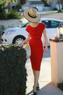 Ruby-red-modcloth-dress-cream-lv-bag