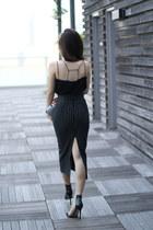 black fewmoda top - silver Bottega Veneta bag - black fewmoda skirt