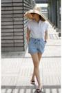 Anthropologie-hat-zara-shorts-zara-blouse-melissa-flats