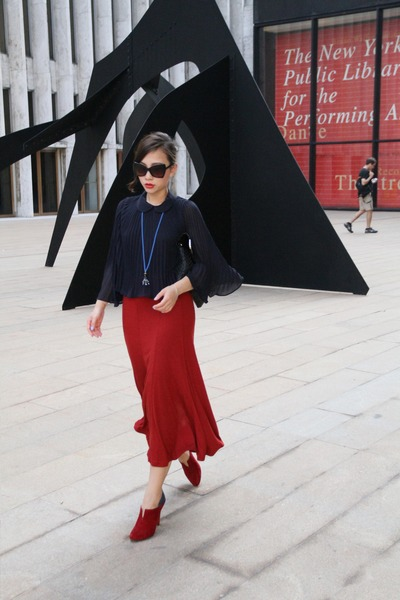 brick red hm skirt - brick red Rebecca Minkoff boots - navy asos blouse