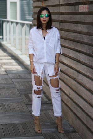 UO jeans - nastygal shirt - Jeffrey Campbell heels
