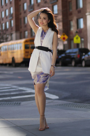 Alice Yim dress - Zara vest - BCBG belt - asos heels