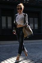 white Helmut Lang t-shirt - navy AG jeans - eggshell Alexander Wang bag