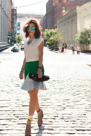 green fewmoda skirt - white H&M top - nude Anthropologie wedges