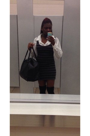 gray H&M dress - black bag - black thigh-high American Apparel socks