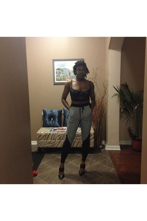 black American Apparel top - silver jogger Forever 21 pants