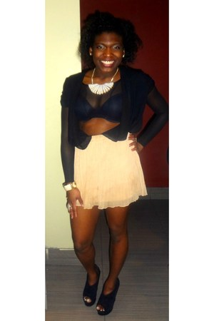 black crop DIY top - black cardigan - cream Forever 21 skirt