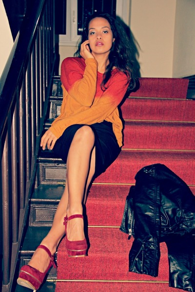 black H&M jacket - black Zara skirt - ruby red I love Shoes heels