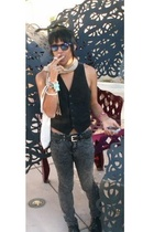 christian dior scarf - YSL vest - American Apparel pants - Rockport shoes - sung