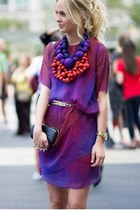 amethyst chiffon dress - black Alexander McQueen bag - black shop similar bag