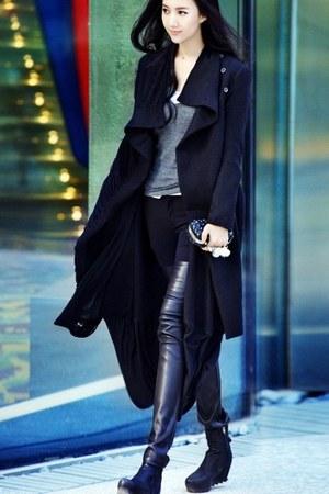 black boots - black cotton vintage jacket - black shirt Topshop shirt