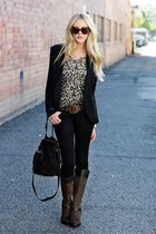 black blazer - brown boots - black bucket studded bag