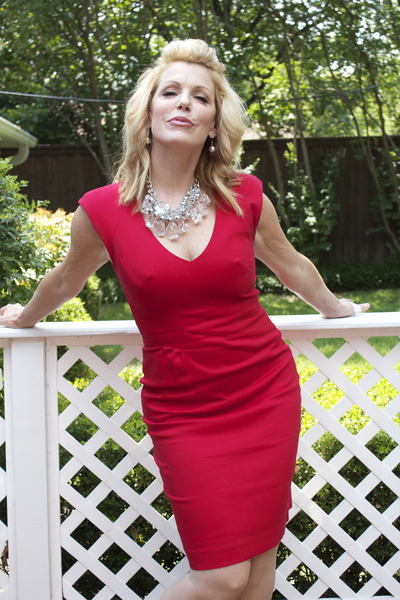 red lace backed boutique dress