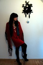 red Zara dress - black H&M jacket - ruby red H&M scarf - black Zara boots