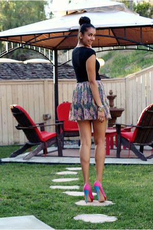 periwinkle floral Nordstrom skirt - hot pink rue21 pumps