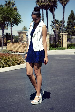 white Forever21 vest - blue kohls dress - white Mossimo sandals