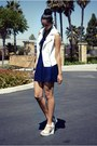 Blue-kohls-dress-white-forever21-vest-white-mossimo-sandals