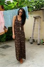 Brown-maxi-dress-h-m-dress-gold-gold-h-m-necklace-tawny-regal-wedges