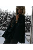 cape veromoda coat - trapper H&M hat - faux leather BikBok leggings - BikBok bra