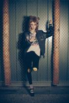 H&M hat - Zara shoes - H&M jacket - H&M leggings - pull&bear t-shirt